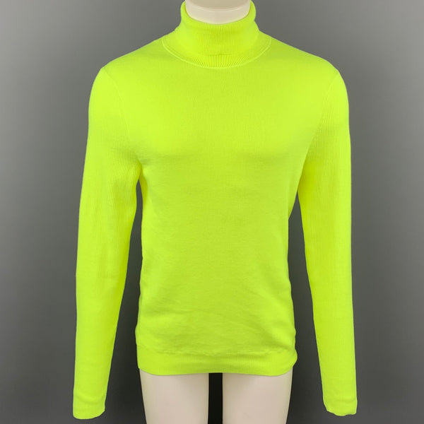 PAUL SMITH Size L Neon Yellow Knitted Polyester Turtleneck Pullover