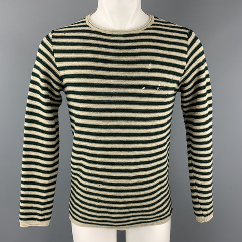 WHY NOT BRAND Size S Taupe Stripe Cotton / Acrylic Boat Neck Pullover Sweater