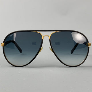 GUCCI Black Leather Gold Tone Aviator Sunglasses