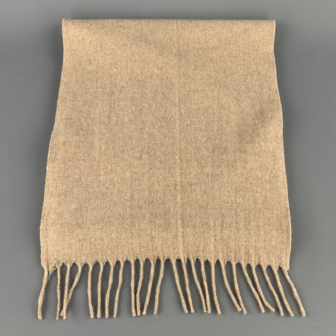AMICALE Tan Cashmere Fringe Scarf