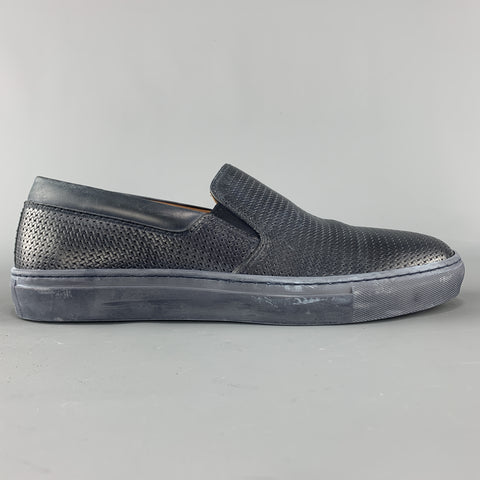 AQUATALIA Size 10 Navy Woven Leather Slip On Sneakers