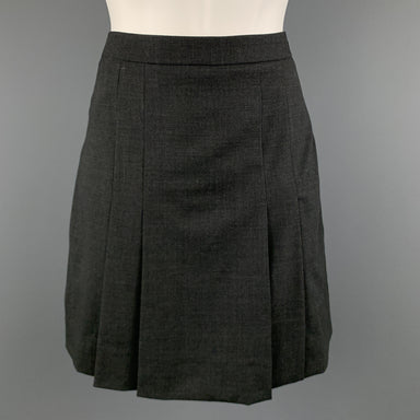 CELINE Size 4 Grey Wool Blend Pleated  Skirt