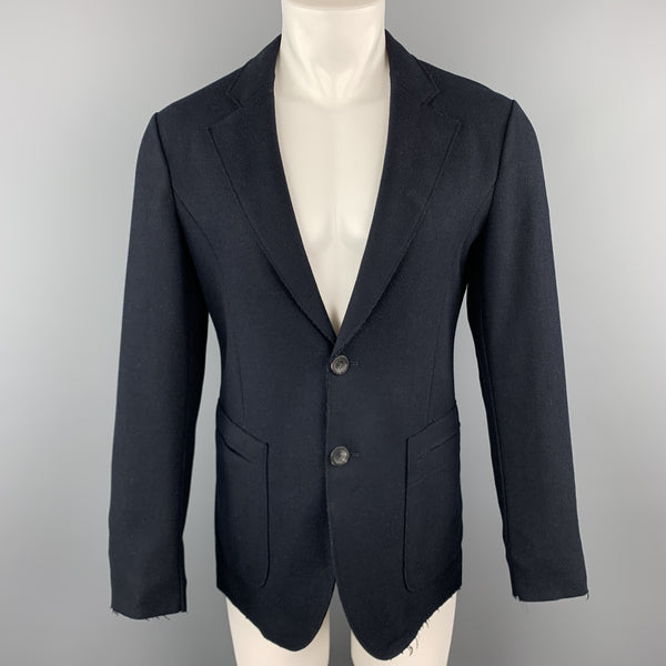 EMPORIO ARMANI Size 36 Navy Wool Bland Felt Notch Lapel Sport Coat