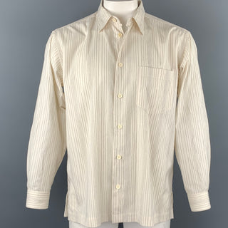 ISSEY MIYAKE Size L Beige Stripe Wrinked Polyester / Cotton Long Sleeve Shirt