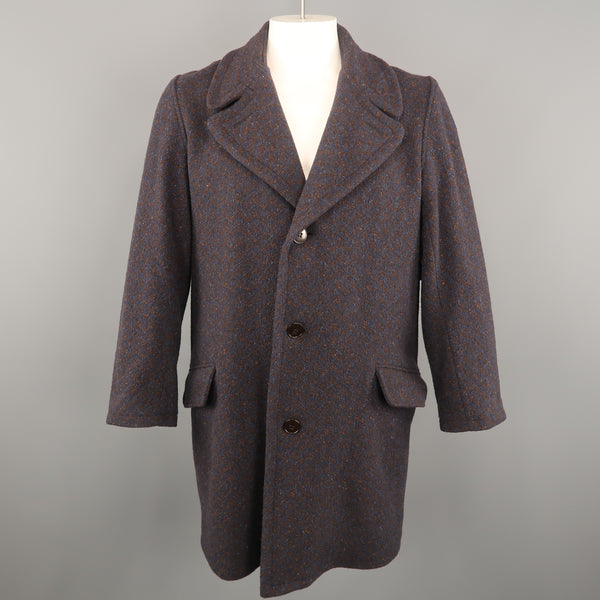 FRANK LEDER Size M Navy & Brown Heather Wool Notch Lapel Oversized Coat