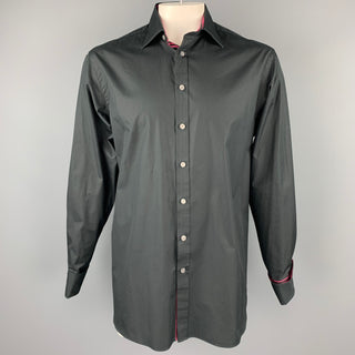 THOMAS PINK Size L Black Cotton French Cuff Long Classic Sleeve Shirt