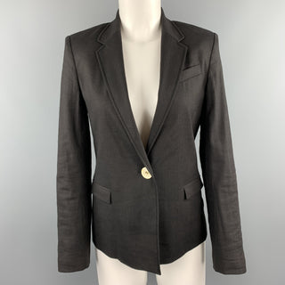 JOSEPH Size M Black Linen Blend Single Button Blazer