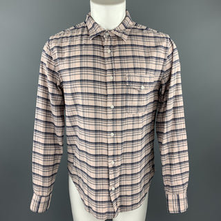 SAVE KHAKI Size M Light Pink Plaid Cotton Button Up Long Sleeve Shirt