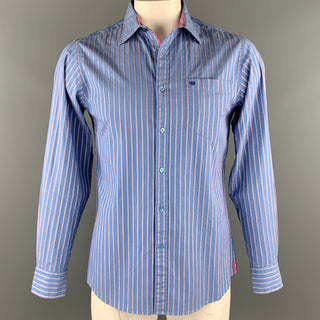 TED BAKER Size M Blue Stripe Cotton Button Up Long Sleeve Shirt