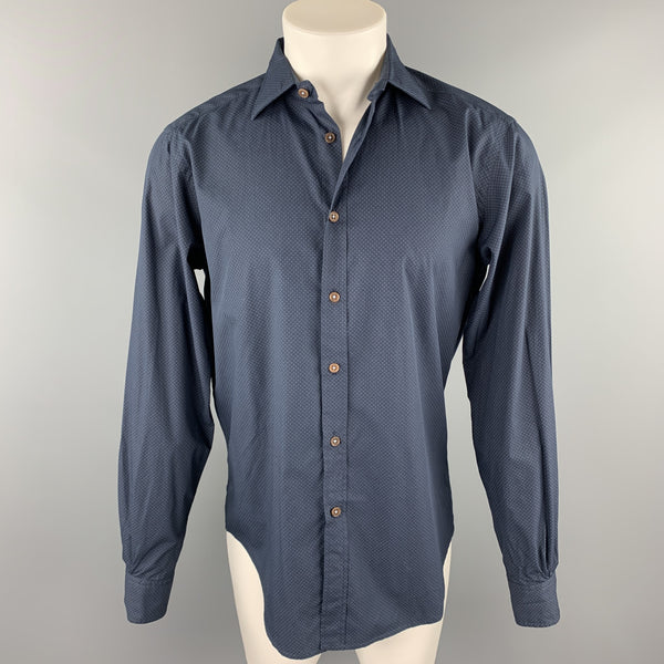 KOIKE Size M Navy Print Cotton Button Up Long Sleeve Shirt
