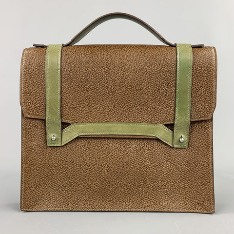 APRIL in PARIS Brown & Olive Textured Leather Bag