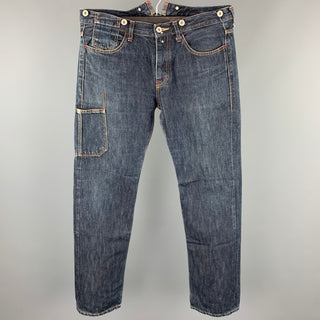 JUNYA WATANABE Size L Indigo Contrast Stitch Denim Button Fly Jeans