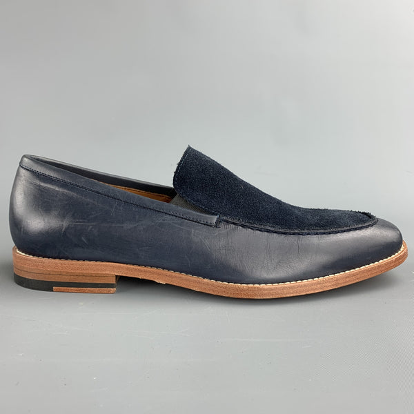 MILLBURN CO. Size 7 Navy Mixed Materials Leather Slip On Loafers