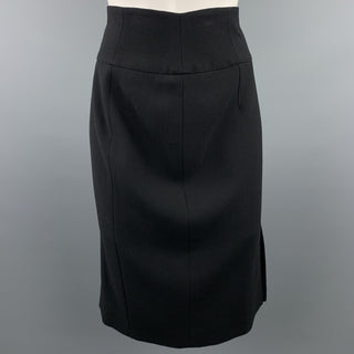 GIORGIO ARMANI Size 8 Black Crepe Wool Pencil Skirt