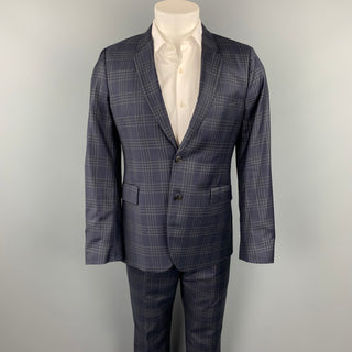 PAUL SMITH Slim Size 40 Regular Navy & Grey Plaid Wool Notch Lapel Suit