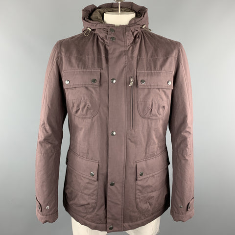 BRUNELLO CUCINELLI Size L Plum Cotton Blend Hooded Patch Pockets Zip & Snaps Jacket