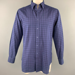 HAMILTON Size L Navy Checkered Cotton Button Down Long Sleeve Shirt