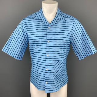 BAND OF OUTSIDERS Size M Blue & Navy Stripe Cotton Camp Short Sleeve Shirt