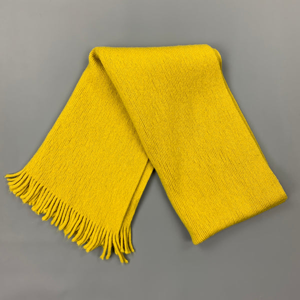 PAUL SMITH One Size Mustard Yellow Knitted Wool Fringer Scarf