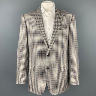 ERMENEGILDO ZEGNA Crossover Taupe & Blue Plaid Linen Blend Notch Lapel Sport Coat