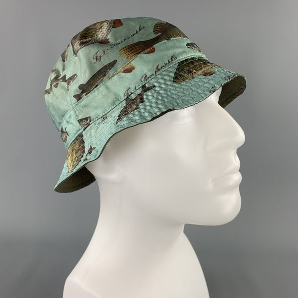 BARBOUR Olive Fish Print Nylon Reversible Bucket Hat