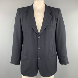 GIORGIO ARMANI 40 Navy Solid Wool Notch Lapel  Sport Coat