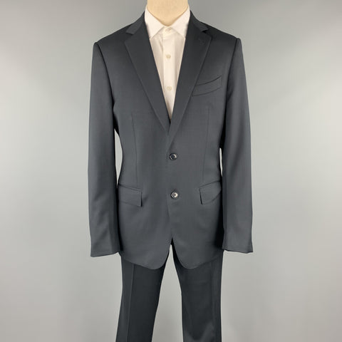 ERMENEGILDO ZEGNA Size 42 Regular Black Wool Notch Lapel Suit