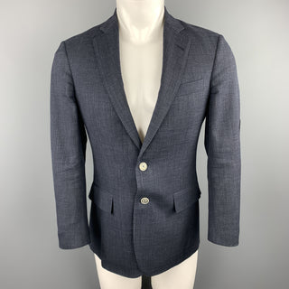 BROOKS BROTHERS Size 36 Navy Heather Wool Notch Lapel Elbow Patch Blazer