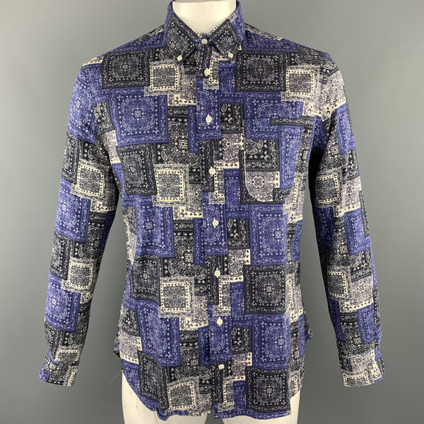 GITMAN VINTAGE Size L Blue & Navy Bandana Cotton Button Down Long Sleeve Shirt