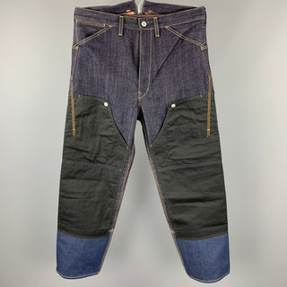 JUNYA WATANABE Size M Indigo Mixed Materials Contrast Stitch Denim Zip Fly Jeans