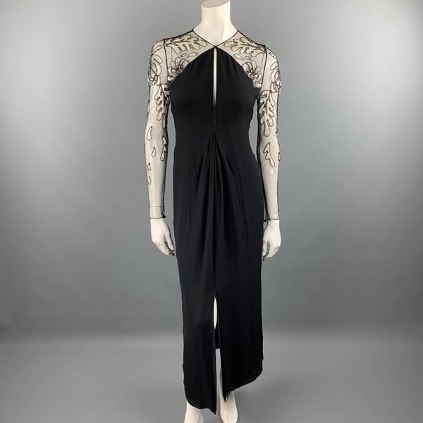 BILL BLASS Size 6 Black Cream Floral Mesh Sleeve Chiffon Gown