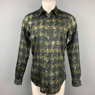 PAUL SMITH Size M Olive & Black Houndstooth Cotton Button Up Long Sleeve Shirt