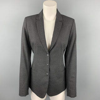 ELIE TAHARI Size 8 Grey Wool Notch Lapel Blazer