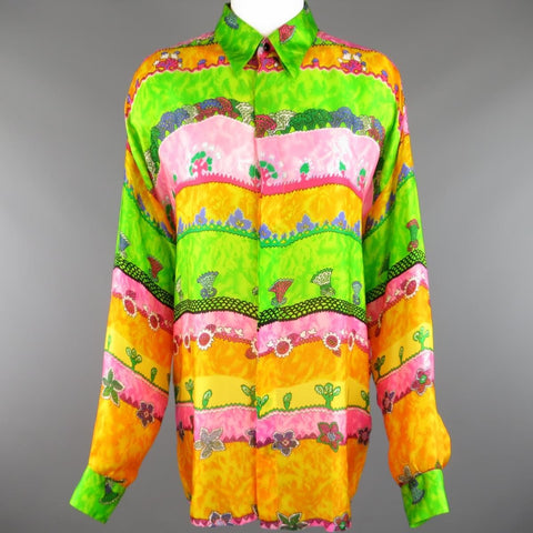 GIANNI VERSACE Size L Multi-Color Watercolor Abstract Plant Print Silk Blouse