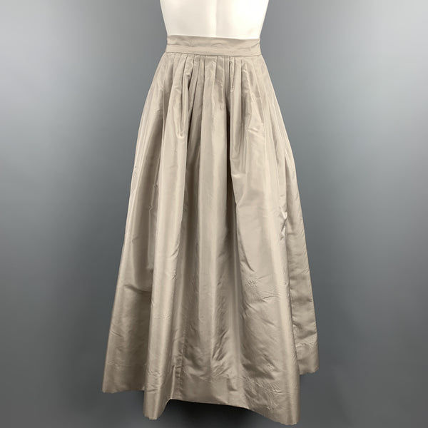 OSCAR DE LA RENTA Size 6 Taupe Silk Taffeta Pleated Ball Skirt