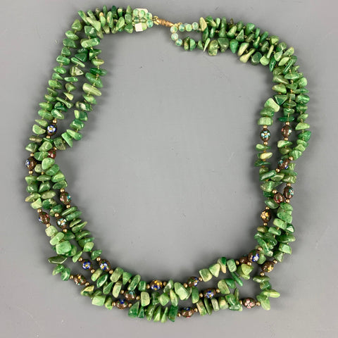 VINTAGE Green Periodt Stone Layered Necklace