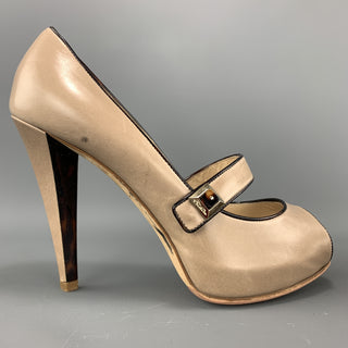 OSCAR DE LA RENTA Size 6 Taupe Leather Peep Toe Mary Jane Pumps