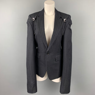 COMME des GARCONS Size M Navy Chalk Stripe Wool Double Sleeve Peak Lapel Jacket