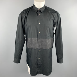 COMME des GARCONS HOMME PLUS Size M Black Charcoal Stripe Panel Dress Shirt