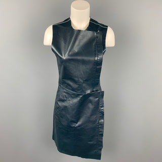 CALVIN KLEIN COLLECTION Size 2 Dark Blue Leather Lamb Skin Sheath Dress