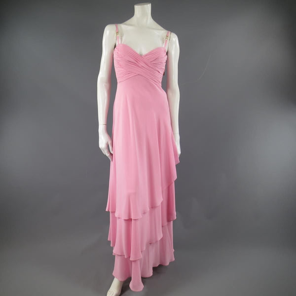 ESCADA COUTURE Size 8 Pink Silk Pleated Bust Gold Charm Strap Evening Gown