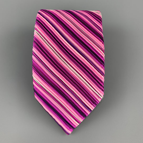 VITALINO PANCALDI Pink & Purple Diagonal Striped Pleated Silk Tie