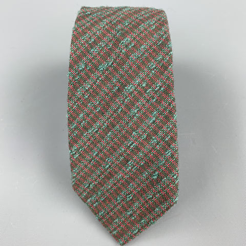 HERMES Textured Olive Silk / Wool Tie
