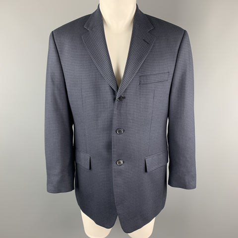 MICHAEL by MICHAEL KORS Size 40 Navy Checkered Short Wool Blend Sport Coat