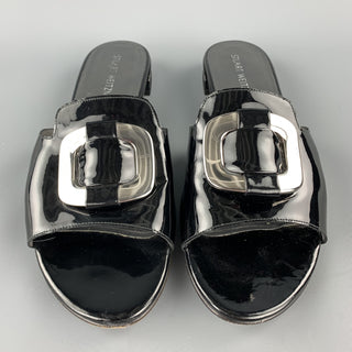 STUART WEITZMAN Size 11 Black Patent Leather Silver Buckle Flats