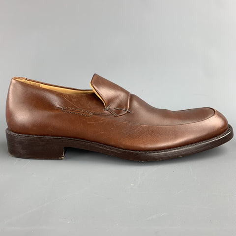 CALVIN KLEIN Size 8 Cognac Solid Leather Slip On Loafers