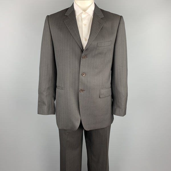 PAUL SMITH Size 42 Regular Brown Stripe Wool Notch Lapel Suit