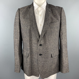 DRIES VAN NOTEN Size 44 Brown Heather Linen / Cotton Sport Coat