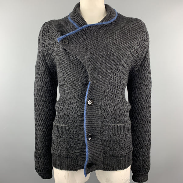 KAPITAL Size L Black Knitted Wool Shawl Collar Cardigan
