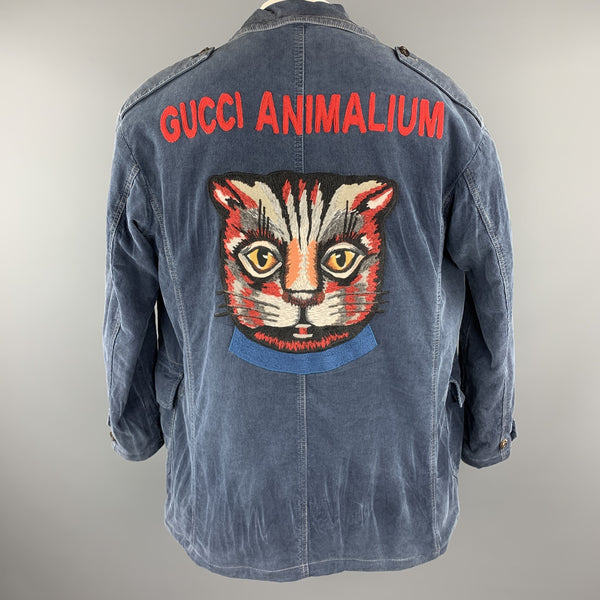 GUCCI Washed Navy Washed Corduroy Embroidered Cat ANIMALIUM Jacket